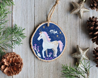 Ornaments for Kids, Unicorn Ornament, Personalized Ornaments Baby, Little Girl Christmas Gift, Wood Slice Ornaments, Custom Ornaments Baby