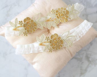 Light Gold  Embroidery Flower Lace Wedding Garter Set with Ivory Ruffle Elastic, Gold Lace Wedding Garter / GT-34RF