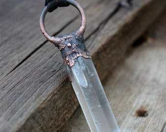 Raw Lemurian Crystal Quartz Necklace, Chakra Balancing, Electroformed, Healing Quartz, Unisex, Boho, Natural Inspired