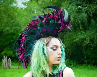 Feather Mohawk Headdress Festival Burning Man Glastonbury