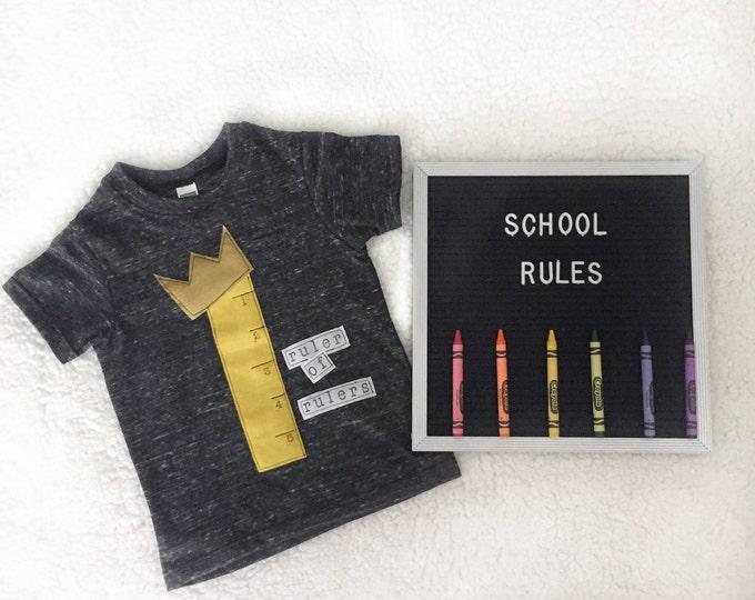 """Swanky Shank Boys or Girls """"Ruler of Rulers"""" Gender Neutral Back to School Tee"""