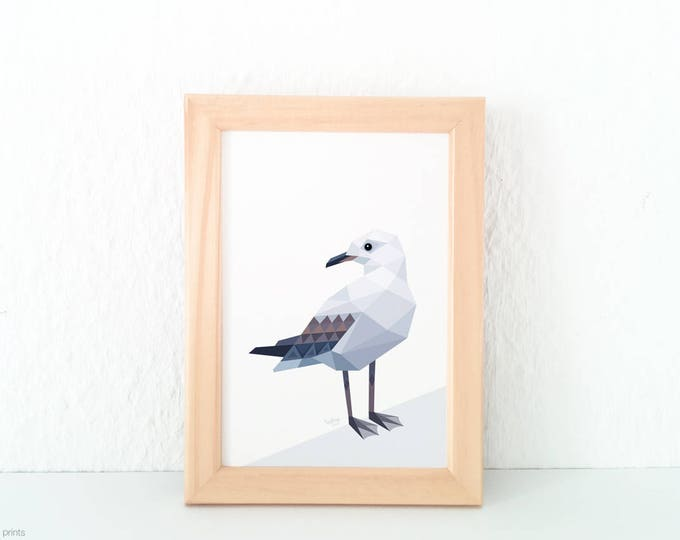 New Zealand Seagull print, New Zealand bird art, Seabirds, Beach theme art, Geometric seagull, Seaside theme, Ocean creatures, Nautical art