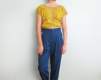 90s High Waisted Pants - High Waist Trouser Pants - Deadstock Pants - Pleated Trousers - Peacock Blue Pants - Rayon Pants -90s Clothing