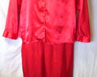 Red Satin Pajamas, Liquid Satin, Kim Rogers, Size XL Extra Large, Lounging, Pajama Party, Cozy Sleepwear