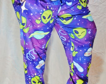 Alien Pajama Pants! Stretchy & Comfy Jogger Style Pants with Drawstring and Pockets