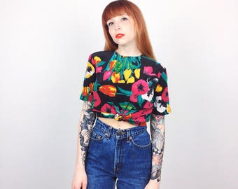 Silk Abstract Floral Print Black Boxy Vintage Blouse Top // Women's size Small S