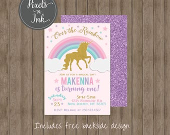 PRINTABLE CUSTOMIZABLE DIY Over the Rainbow, Magical Day Unicorn Birthday Party Invitation - by Pixels n Ink