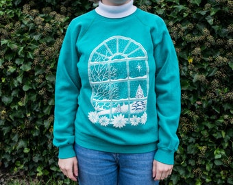 Vintage 80s 90s Ugly Christmas Winter Wonderland Snowy Sweater