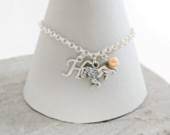 Lion Bracelet or Lion Necklace, Personalised Lion Jewellery, Lion Charm Bracelet, Lion Charm Necklace, Lion Jewellery, Lion Jewelry
