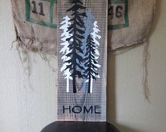 Forest Home - Reclaimed Wood Art Rustic Tree Painting Home Decor Gift