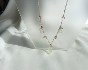 Prehnite briolette earrings and necklace set peridot pink tourmaline amethyst 14k gold filled gemstone handmade  MLMR item 671