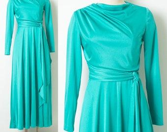 Vintage 70s Dress, Vintage maxi Dress, Vintage green Dress, Cowl neck dress, Vintage evening Dress, Vintage formal dress - S/M