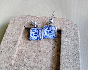 Portuguese tile earrings, Azulejo Replicas, Blue Azulejos, Blue and White, Flowers, Portuguese jewelry