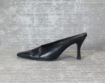 Vtg 90s Black Leather Architech Mules 7.5