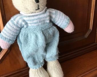 knitted toys, handmade bear soft toy dressed bear