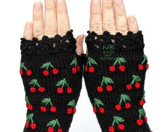 Gloves With Cherries, Knit Fingerless Gloves, Black Embroidered Gloves, Red Cherry, Gloves And Mittens, Polka Dot Pattern, Christmas Gift