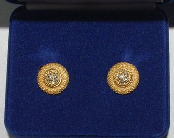 Jackie Kennedy GP Earrings with Crystals, Box and Certificate