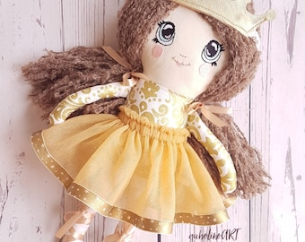 Ballerina doll-Cloth doll-Good -Keepsake -Girl present-Collectible dolls -Handmade-Unique-Yarn hair
