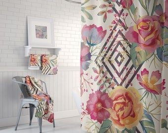 Floral, Beautiful Shower, Floral Bath Curtain, Bathroom Set, Flowers, Watercolor Bath, Shower Curtains