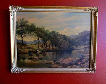 Antique Ornate Gold Gilded Wood Frame With Print of  English Landscape of River in Wales