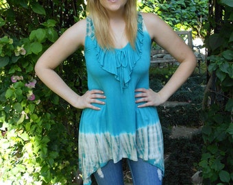 Tie Dye Tank Sale, Tank top, Womens Clothing, Tie Dye, Ruffle Front, Lace Back, Clearance SALE, Turquoise Blue with Beige, XS S M