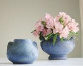 Vintage Brush McCoy Pottery Vase Set - Matte Blue Art Vellum Pottery - Arts and Crafts - Round Vase - Craftsman Style - Decorative Vase Set