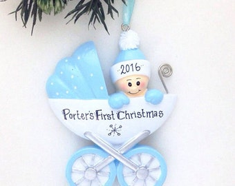 Baby's First Christmas Ornament / Baby Boy Ornament / New Baby Ornament / Baby Carriage Ornament / Baby Gift