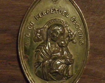 Antique religious bronze medal pendant charm Our lady of the perpetual help angels
