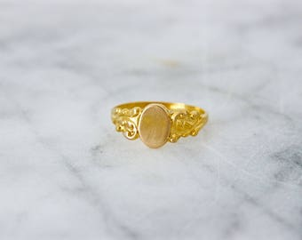 Antique Baby Ring | 14k Signet Ring | Tiny Gold Ring | Art Nouveau Jewelry | Monogram Pinky Knuckle Ring | 14k Yellow Gold Ring | Size 1.25
