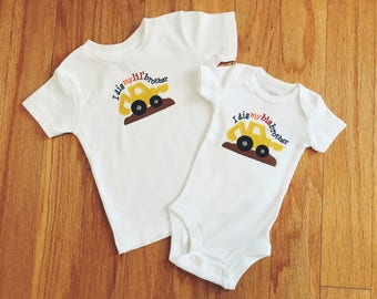 I Dig My Brother Matching Set, Big and Little Brother Set, Embroidered Onesie or T-shirt, Digger Bodysuit, Coming Home Set, Baby Shower Gift