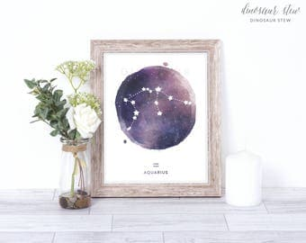 aquarius print - watercolor constellation art print - aquarius gift idea with color options - 8x10