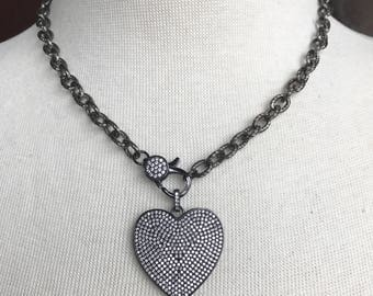 Gunmetal Pave Crystal Clasp Choker with Gunmetal Pave Crystal Heart Pendant on Gunmetal Texturized Chain