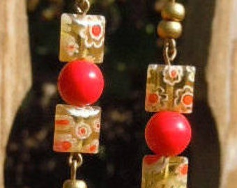 Red Berry Ball Golden Millefiori Squares Antiqued Brass Lever Back Earrings