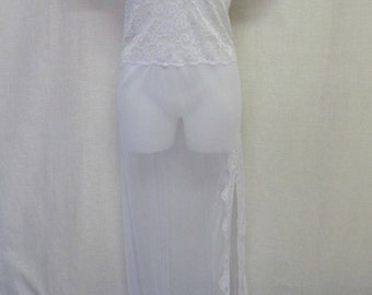 White Sheer Nightgown Long Nightgown One Size