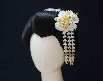 Beautiful White and Ivory Tsumami Kanzashi 342