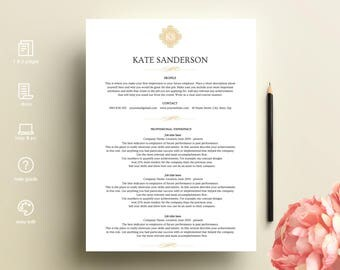 resume template, resume template ms word, CV template, professional resume, modern resume, Kate resume