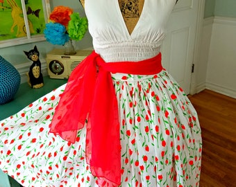 Vintage Dress  50's 60's /2 piece set/ Crisp White Halter Top / Full Sweep Circle Skirt / Red Scarf / Garden Party / Tea Party/ Med