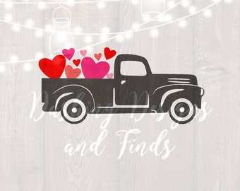 DIGITAL DOWNLOAD valentine svg, silhouette, cricut, cut file, valentine truck, valentine shirt, valentines day, valentines shirt, hearts svg