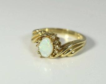 14k Fiery White Australian Opal Ring with Diamonds Vintage