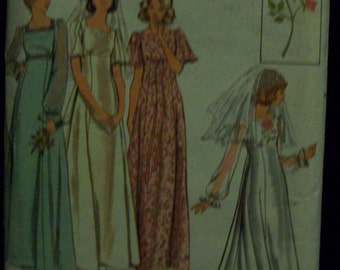 Vintage Butterick 4298 Misses' Bridal Gown & Embroidery Transfer Pattern Sz 14
