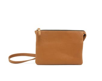 VERO - Double Compartment Leather CrossBody Bag - CAMEL
