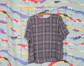 super sheer checked pattern blouse shirt