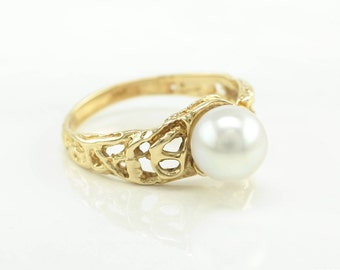 14k Gold Akoya Pearl Ring Modernist Free form Textured Size 8.5