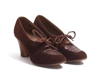 1930s Vintage Brown Suede Pumps, 30s Leather Lace Up Chunky Heel Women's Shoes by Styl-EEZ Selby Size 4B