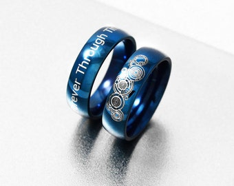 together forever through time and space engagement ring blue steel promise ring wedding - Dr Who Wedding Ring