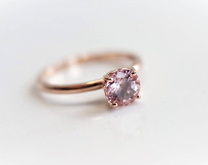 Solitaire 6 mm Baby Pink Morganite Ring/14K Rose Gold Morganite Ring/Vintage Butterfly Scroll Setting/Morganinte Engagement ring