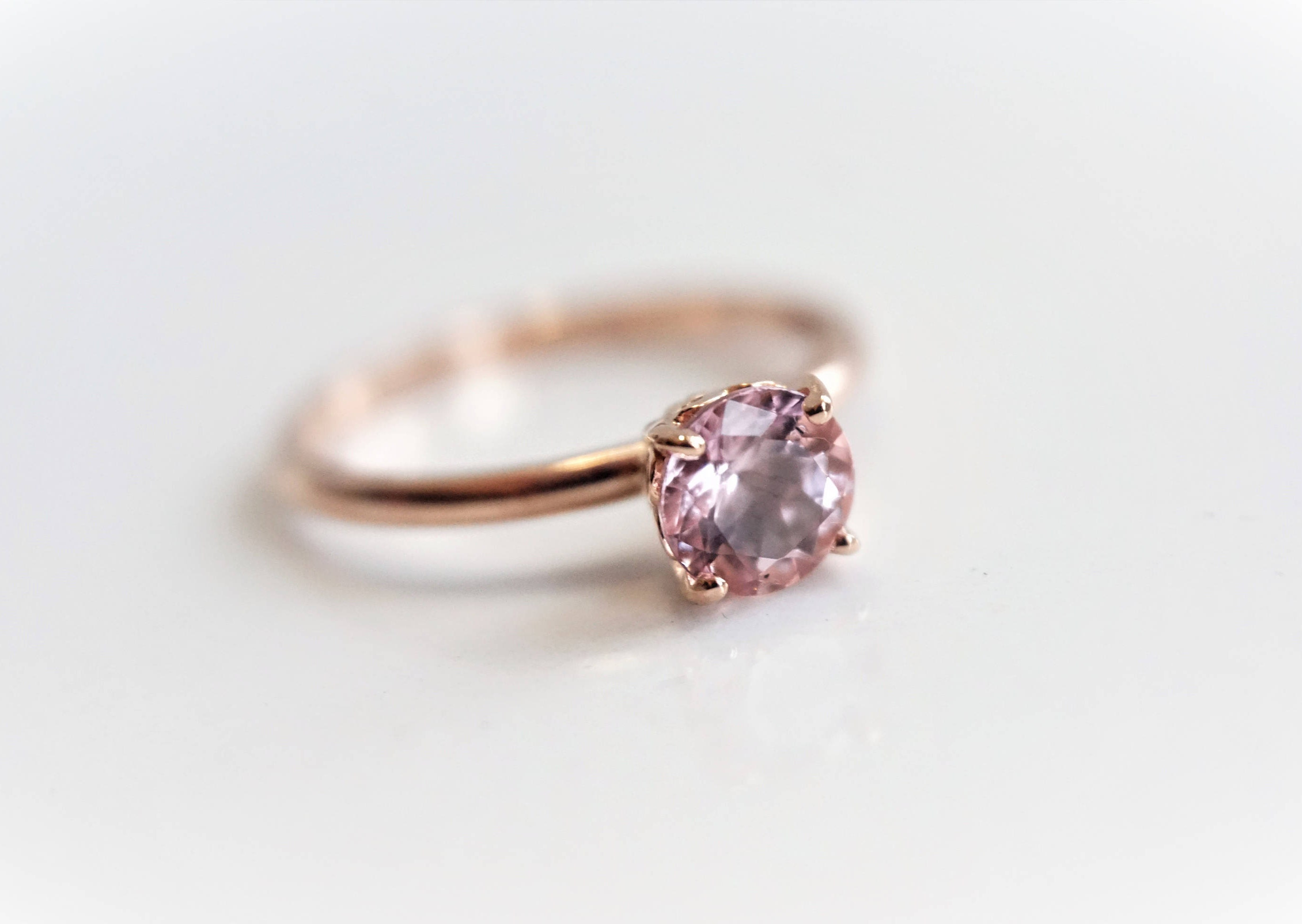 Solitaire 6 mm Baby Pink Morganite Ring 14K Rose Gold Morganite