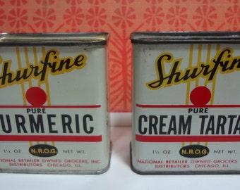 SHURFINE Pure Cream of Tartar and Tumeric Tins