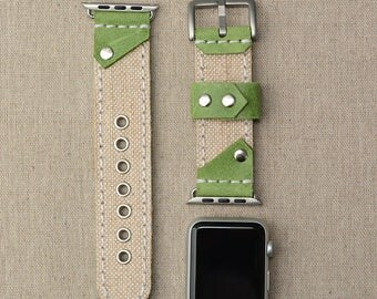 Leather and Canvas Apple Watch Strap 38mm - Apple Watch Band 42mm Fabric - iWatch Band - Lugs Adapter Accessories for Women - iWatch Strap