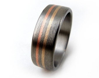 Brushed Titanium Ring, Copper Ring, Bronze Ring, Handmade Wedding Ring, Metal Ring, Grand Junction Guy